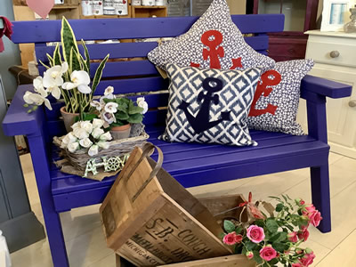 French painted bench, cushions and gifts - Lymington New Forest Hampshire